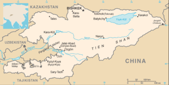 Kirghiz Soviet Socialist Republic - A map of the Kirghiz SSR, note borders match modern Kyrgyzstan