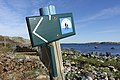 "Kyststien skilt (""Coastal footpath"" walking trail wooden sign) Hvasser Sydsletta Færder Oslofjorden Norway 2020-05-08 7241.jpg"
