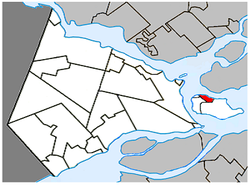 Location within Vaudreuil-Soulanges Regional County Municipality