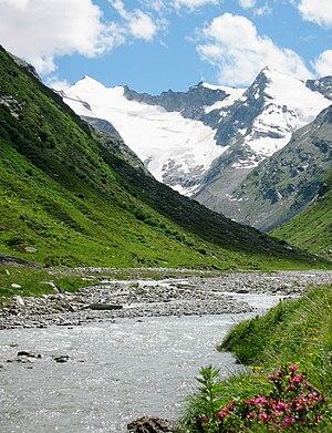 Rheinwaldhorn - The Rheinwaldhorn (left) seen from south of Vals