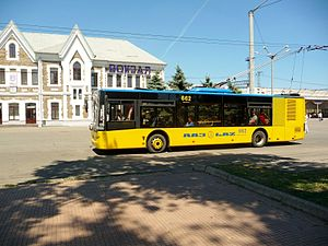 LAZ trolleybus at the station Krivoy Rog-Chief.jpg