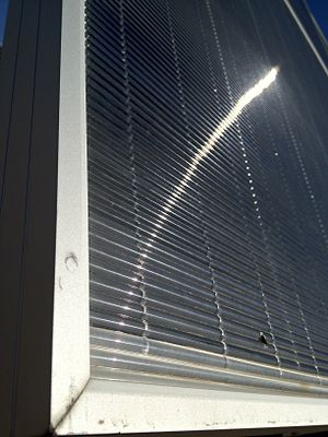 Concentrator photovoltaics - An example of a Low Concentration PV Cell's surface, showing the glass lensing