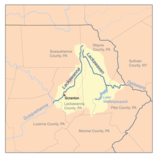 Map of northeastern Pennsylvania, with county borders indictated and the Lackawanna and Lackawaxen watersheds highlighted in yellow.