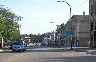 Lake Mills, Wisconsin - The west part of the town square on Highway 89