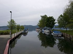 Boat landing with Lake George on the background