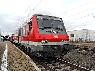 Mannheim–Frankfurt railway - Regional-Express in Lampertheim station on the way to Mannheim