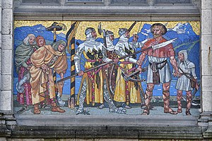 William Tell - Tell is arrested for not saluting Gessler's hat (mosaic at the Swiss National Museum, Hans Sandreuter, 1901)
