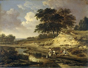 Landscape with a rider watering his horse