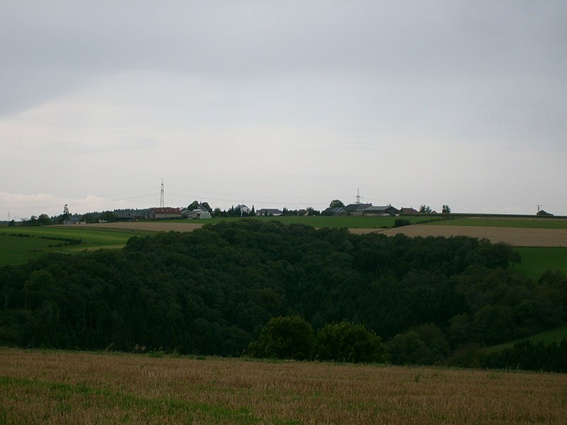 Landscheid, Luxembourg. View from south-east, hill named Millebierg.