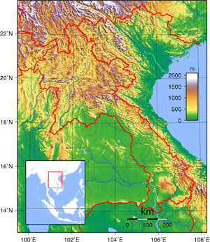 Transport in Laos - A topographic map of Laos.