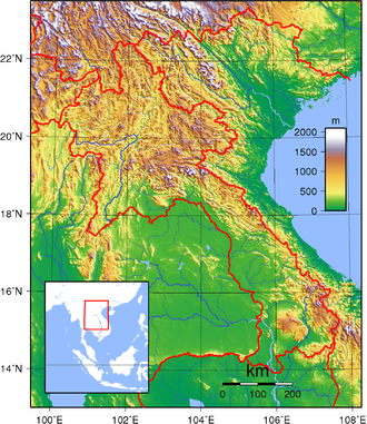 Outline of Laos - An enlargeable topographic map of Laos