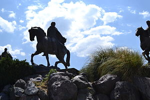 Battle of Monte de las Cruces - Bronze equestrian sculptures at the battlefield site, in La Marquesa National Park.