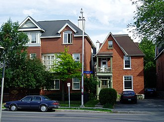 Sandy Hill, Ottawa - A pair of houses on Laurier Ave. E. Many of the large older buildings in Sandy Hill have been converted into apartments.