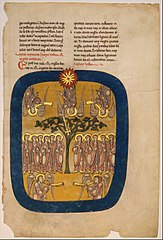 Leaf from a Beatus Manuscript: Angels Restrain the Four Winds; the Angel Ascends from the Rising Sun