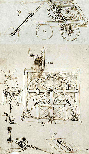 Leonardo's self-propelled cart - Image: Leonardo Card Drawing