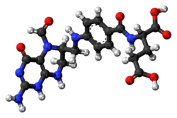 Ball-and-stick model of the folinic acid molecule