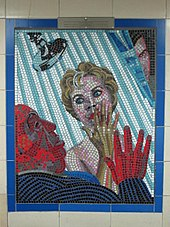 Mosaic image from the film Psycho at Leytonstone tube station