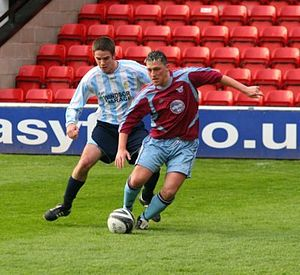 Westfields F.C. - Westfields (claret and blue) in action against Coventry Sphinx