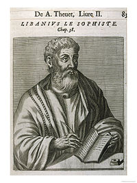 Etching of a man with curly hair and a beard, in robes, holding a book