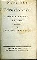 Liljegren o Brunius, Nordiska fornlemningar Första bandet I-XLVIII (1823) titelblad.jpg