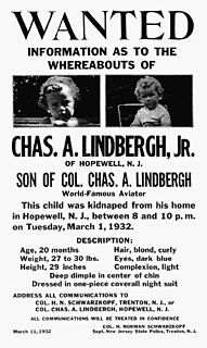 Lindbergh kidnapping Abduction and murder of Charles Lindbergh Jr