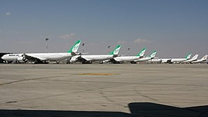 Tehran Imam Khomeini International Airport - Mahan Air Airbus A340 parked at IKIA.