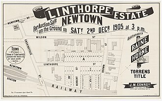 Newtown, New South Wales - Linthorpe Estate, Newtown, Auction, 1905.