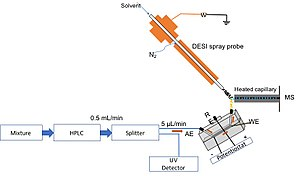 Desorption electrospray ionization - Liquid chromatography coupled to DESI-MS. AE is auxiliary electrode, RE: reference electrode, WE: working electrode.