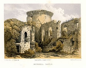 Bothwell Castle - Image: Lithograph of the ruins of Bothwell Castle by E. Walker after S. Prout