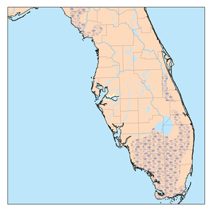 Little Manatee River - Map of the river (highlighted in dark blue at the center)