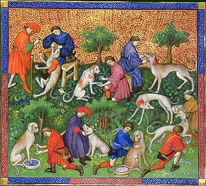 Hunting dog - Book of the Hunt, Gaston III, Count of Foix, 1387–88.