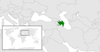 A map showing the location of Azerbaijan