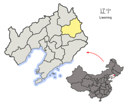 Location of Fushun in Liaoning