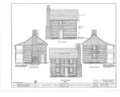 Log Cabin, Carbondale, Jackson County, IL HABS ILL,39-CARB.V,1- (sheet 1 of 2).png