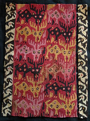 Textile arts of indigenous peoples of the Americas - Chancay culture tapestry featuring deers, 1000-1450 CE, Lombards Museum