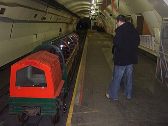 London Post Office Railway - A station on the railway with sight-seeing train