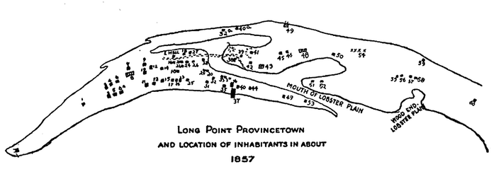 A hand-drawn map of Long Point, with numbered dots scattered about.