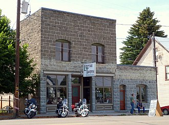 """Lostine, Oregon - The historic Lostine Tavern, located at 125 Highway 82, is listed on the U.S. National Register of Historic Places under its historic name """"Lostine Pharmacy""""."""