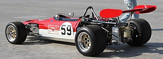 Lotus 59 - Lotus 59B in Formula B configuration.  Note the water feed pipe to radiator on the body side