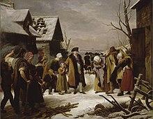 Louis XVI distribuant des aumônes aux pauvres de Versailles pendant l'hiver  de 1788. Louis Hersent, 1817.