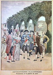 Antoine Parmentier et la pomme de terre dans FONDATEURS - PATRIMOINE 220px-Louis_XVI_et_Parmentier