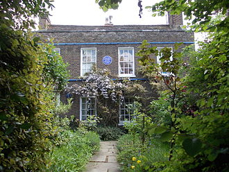 "Lucien Pissarro - Lucien Pissarro's house, Stamford Brook, London, with GLC blue plaque ""Lucien Pissarro 1863-1944 Painter, Printer, Wood Engraver lived here"""