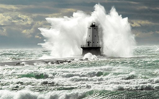 Ludington Lighthouse hit by a wave (8741875060)