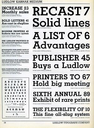Karnak (typeface) - Karnak Medium in metal type