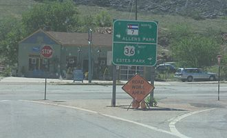 Colorado State Highway 7 - SH 7 and US 36 intersection