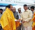 M. Venkaiah Naidu being received by the Governor of Andhra Pradesh, Shri E.S.L. Narasimhan and the Chief Minister of Andhra Pradesh, Shri N. Chandrababu Naidu, on his arrival, in Vijayawada, Andhra Pradesh.jpg