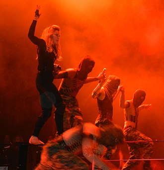 "Hung Up - Madonna and her dancers slacklining during the performance of ""Hung Up"" on 2012's The MDNA Tour."