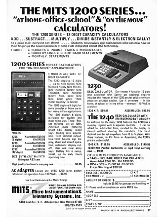 Micro Instrumentation and Telemetry Systems - Sales had reached $100,000 per month when this advertisement ran in March 1973.