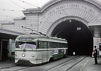 West Portal station - Former street-level stop outside Twin Peaks Tunnel in 1967