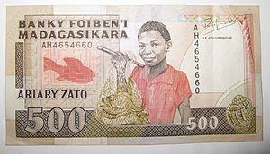 Malagasy ariary - Image: Madagascar 500francs 100ariary banknote 029